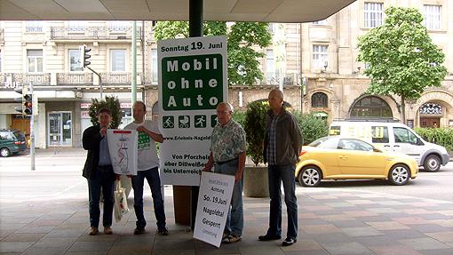 Bild: Moa-Koordinatoren: Oliver Linder (VPE), Klaus  Wolf (MoA), Lothar Faas (Pro Bahn), Tobias Demmel (SVP)