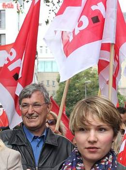 Bild: Bernd Riexinger auf Wahlkmapftour