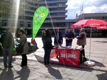 Bild: Auch in Pforzheim wurde am 18.4. 2015 gegen TTIP demonstriert..