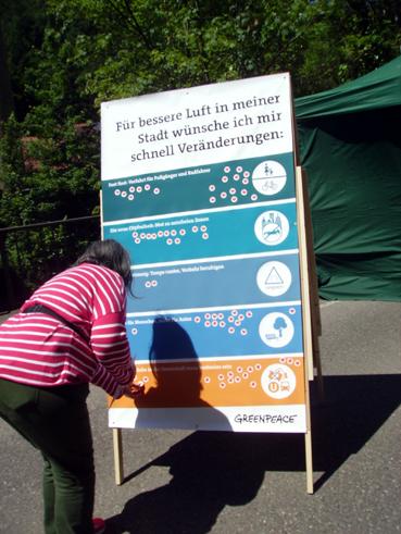 Bild: Besucher der MoA-Veranstaltung konnten die Luftqualität ihrer Stadt bewerten..