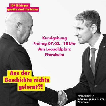 Bild: AfD Mann Höcke gratuliert dem von ihm mitgewählten FDP-Ministerpräsidenten von Thüringen Thomas Kemmler..(Grafik: FM)