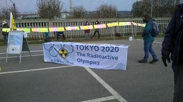 Bild: Protest vor dem AKW Neckarwestheim am 7. März 2021 gegen den Weiterbetrieb des Reaktors (Foto: Ron)