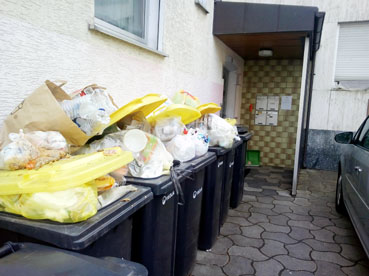 Bild: Übervolle gelbe Tonnen stören nicht nur die Ästhetik des Betrachters.. (foto: ron)