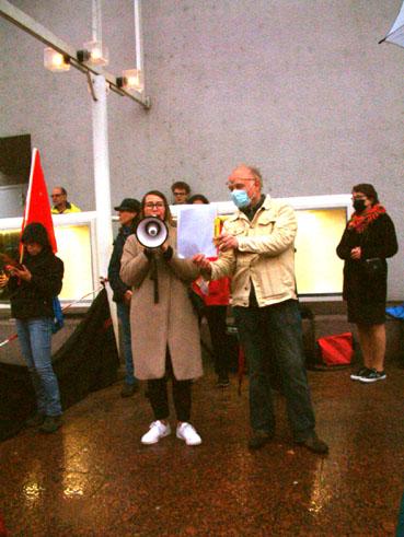 Bild: v.l.: Silvia Marte (WiP) , Christof Grosse, Sprecher der IgR (Foto: ron)