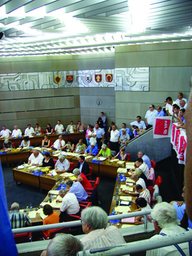 Bild: Volles Haus im Pforzheimer Gemeinderat bei der Busabstimmung.. (Foto:R. Neff)