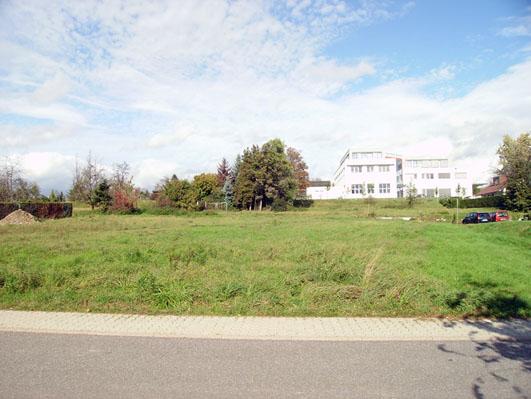 Bild: Auf dieser Gr�nflache neben der Caritas soll die umstrittene Fl�chlingsunterkunft gebaut werden..(Foto: R. Neff)