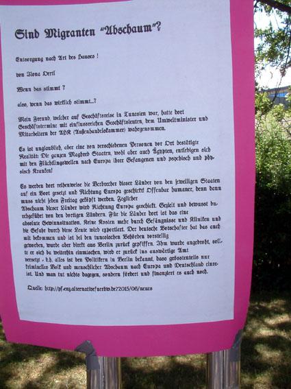 Bild: Hetze gegen Flüchtlinge auf AFD-Homepage